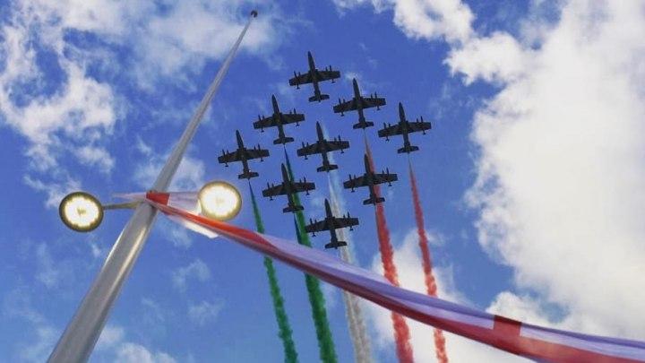 Uno dei 18 pennoni del ponte di Genova il giorno dell'inaugurazione