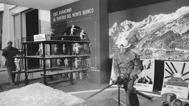 "The ""Swedish Method"" was used for boring the Mont Blanc Tunnel from the Italian side. Here demonstrated at the Milan Fair, Italy, 1959 (from www.atlascopco.com)"