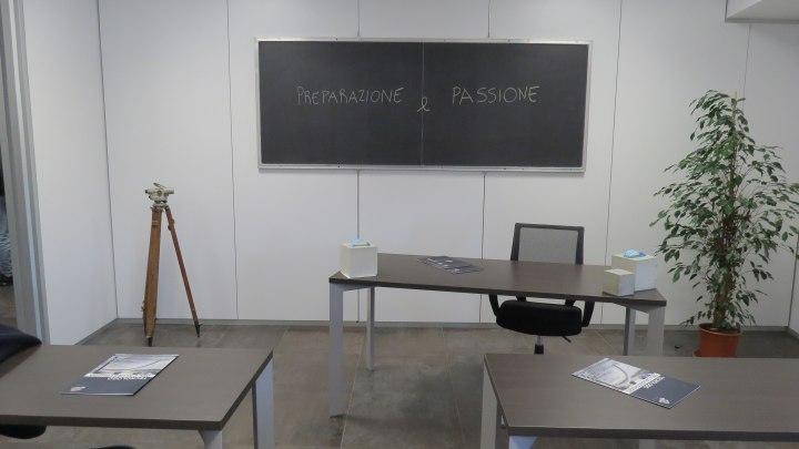 Una delle aule dell'Accademia del Calcestruzzo (sono dedicate a Pier Luigi Nervi, Sergio Musmeci e Riccardo Morandi)